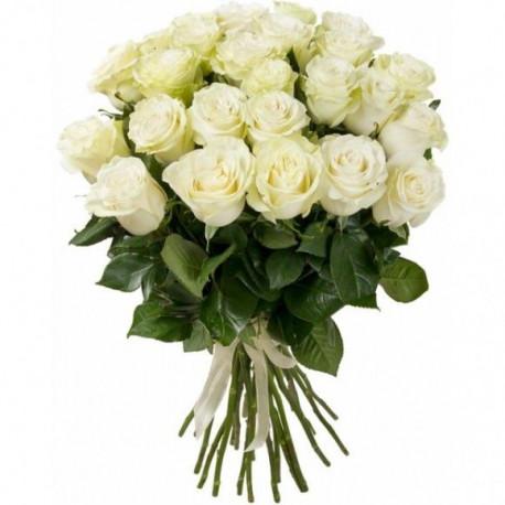 Букет из 21 розы - Белый Розы