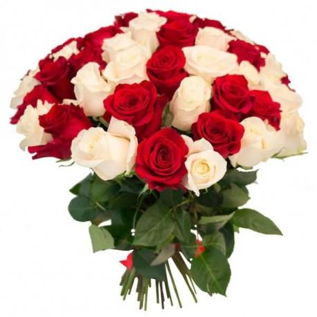 Rožu pušķis no 21 rozes - Sarkans un balts Rozes