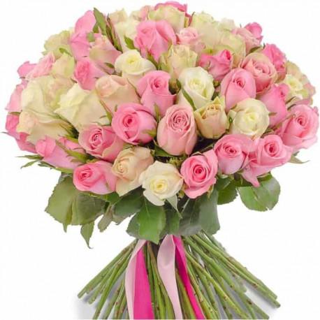 Белые и розовые розы 60см Розы