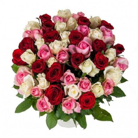 Sarkanu, baltu un rozā rožu pušķis Rozes