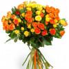 Оранжево-желтые кустовые розы Розы