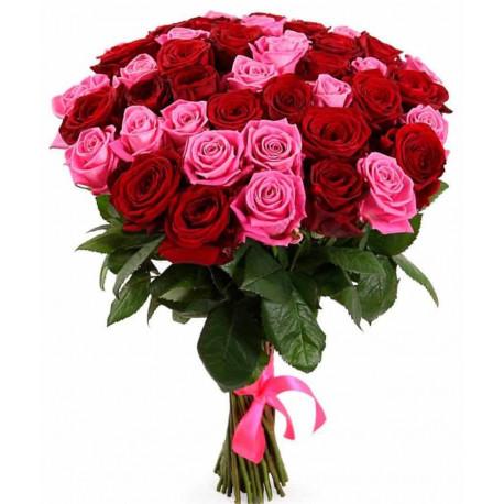 Букет из 21 розы - Красный и розовый Розы
