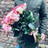 Pušķis ar Baltām un rozā rozēm 60cm Rozes