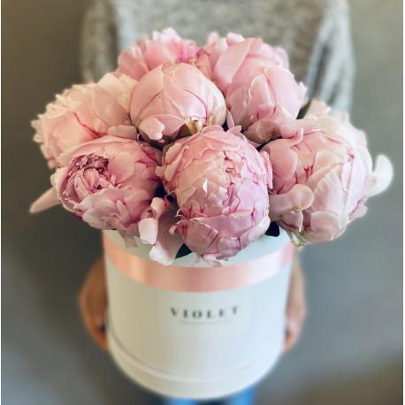 Flower Box ar peonijām Ziedu kastītes