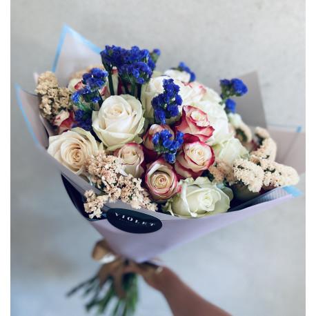 Pušķis ar Rozēm un Limonijām 60cm Ziedu pušķi