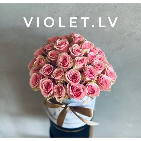 Flower Box ar rozā rozēm Ziedu kastītes
