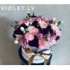 Bloom box ar neļķēm Ziedu kastītes